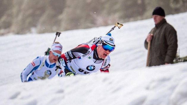 Michal Krčmář při vytrvalostním závodě na 20 km ve slovinské Pokljuce.