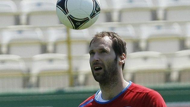Petr Čech na tréninku fotbalové reprezentace v polské Vratislavi