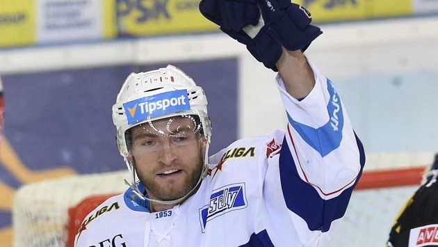 Brněnský Martin Dočekal se raduje z gólu v utkání proti Litvínovu.