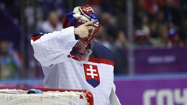 Brankář Halák prožil proti Slovincům perný zápas...