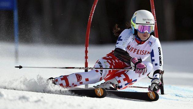 Kateřina Pauláthová na trati druhého kola obřího slalomu na MS v Beaver Creeku.
