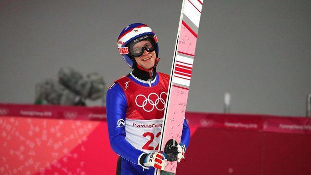 Roman Koudelka po svém pokusu na středním můstku v olympijském závodě, kde bral nakonec 25. místo