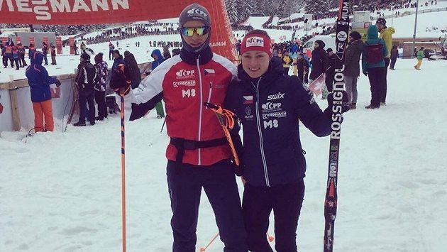 Spokojení sourozenci Petra a Michal Novákovi po sprintu v Lenzerheide.