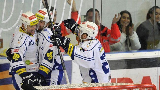 Brněnská radost po vedoucím gólu, vpředu je brankář Litvínova Pavel Francouz.