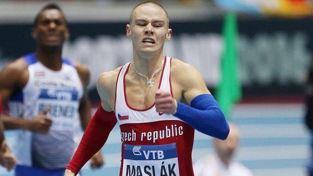 Pavel Maslák ve finále závodu na 400 metrů na halovém MS.