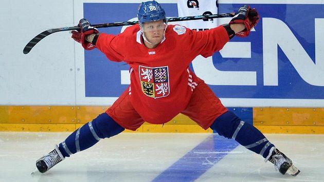 Útočník David Pastrňák v přípravě na Světový pohár.