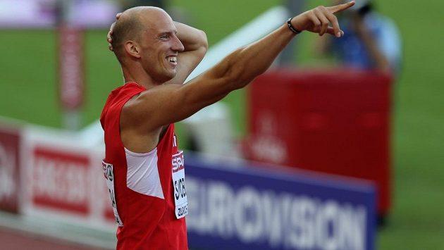 Šťastný překážkář Petr Svoboda na mistrovství Evropy v Curychu.