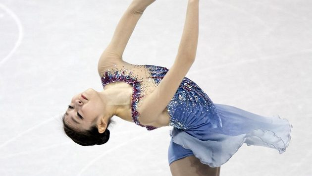 Kim Ju-na během krátkého programu na mistrovství světa v kanadském Londonu.