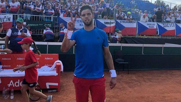 Jiří Veselý při Davis Cupu v Maďarsku