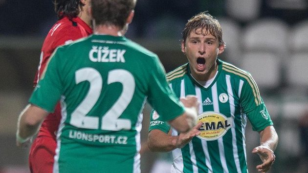 Michal Hubínek z Bohemians 1905 oslavuje gól na 1:1 v utkání s Brnem.