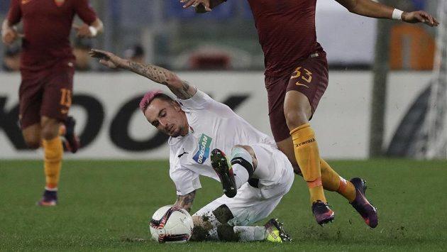 Martin Zeman z Plzně v zápase s AS Řím.
