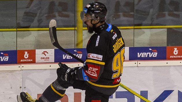 Richard Jarůšek z Litvínova se raduje z gólu.