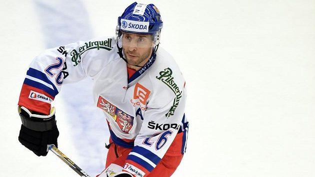 Útočník Martin Ručinský v zápase národního týmu s Ruskem.