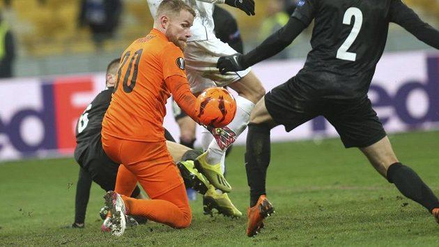 Jablonecký gólman Vlastimil Hrubý v utkání Evropské ligy na hřišti Dynama Kyjev neinkasoval.