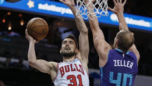 Basketbalista Chicaga Bulls Tomáš Satoranský (vlevo) a Cody Zeller v Charlotte Hornets.