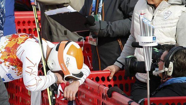 Pláč Bodeho Millera v cíli mužského závodu v superobřím slalomu.