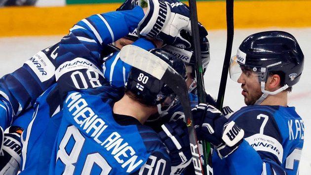 Gólová radost finských hokejistů.