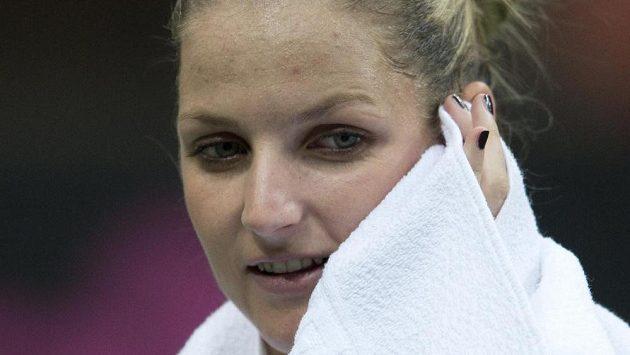 Karolína Plíšková na prvním tréninku před víkendovým finále Fed Cupu.