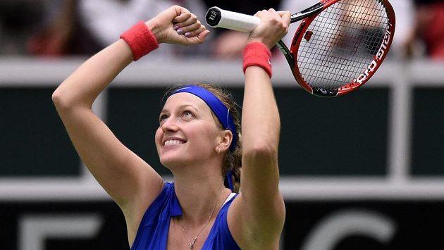 Petra Kvitová se raduje z vítězství. Jak dopadne na letošním Wimbledonu?