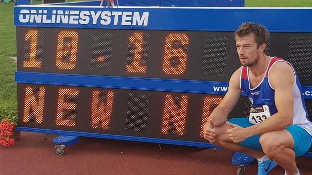 Nový český rekordman v běhu na 100 m Zdeněk Stromšík.