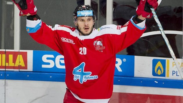 Útočník Olomouce František Skladaný se raduje z gólu.