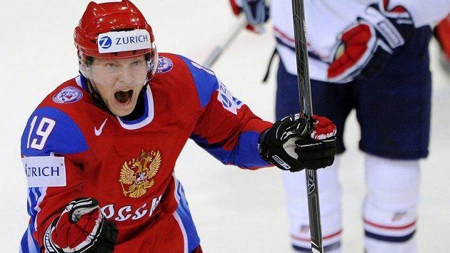 Anton Kurjanov slaví gól v dresu ruské reprezentace proti USA na MS 2009.