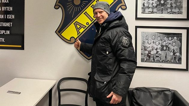 Útočník Vojtěch Polák na stadionu AIK Stockholm.