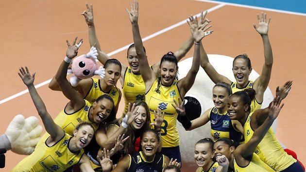 Brazil's players pose for photo after winning over China during their World Grand Prix Finals woman's volleyball match in Sapporo, northern Japan, Sunday, Sept. 1, 2013. Brazil won the tournament Sunday. (AP Photo/Koji Sasahara)