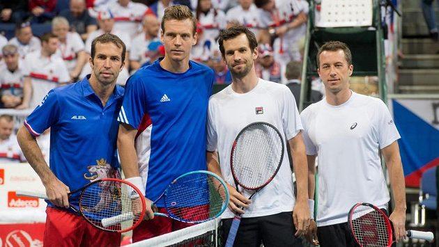 Aktéři čtyřhry prvního kola Davis Cupu mezi Českou republikou a Německem: (zleva) Radek Štěpánek, Tomáš Berdych, Philipp Petschner a Philipp Kohlschreiber.