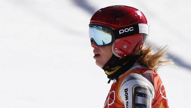 Ledecké po protnutí cíle olympijského super-G dlouho trvalo, než svému výsledku uvěřila.