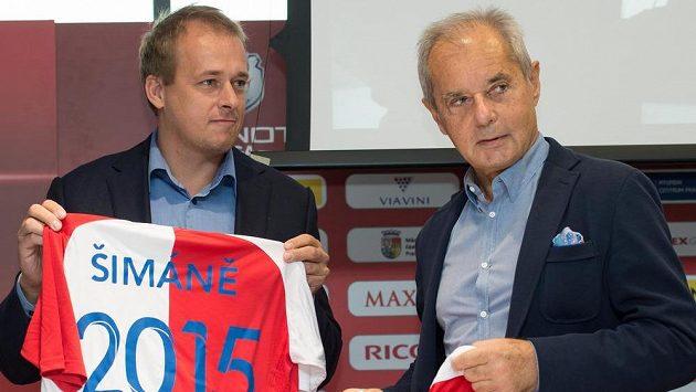 Spolumajitel a prezident Slavie Jiří Šimáně (vpravo) a generální ředitel klubu David Trunda.