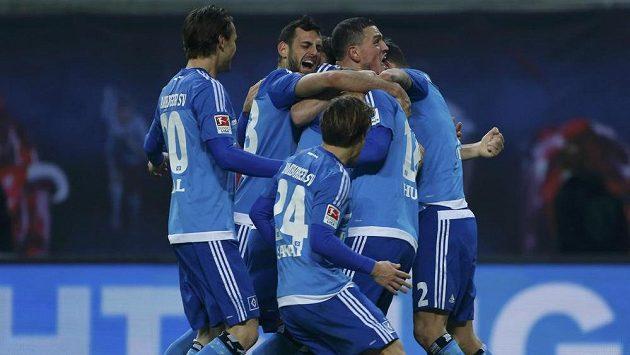 Fotbalisté Lipska se radují z branky - ilustrační foto.