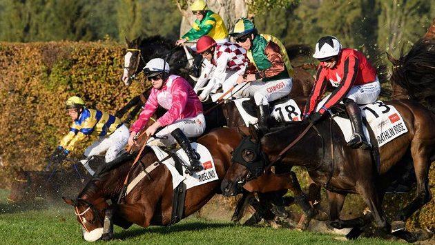 Pád koní na Taxisu během dostihového závodu 129. Velká pardubická.