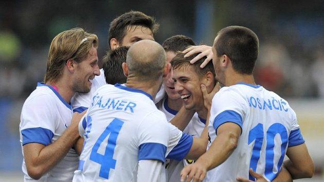 Fotbalisté Liberce se radují z gólu.