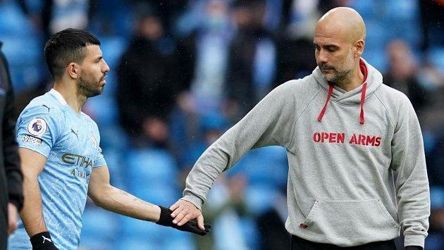 Sergio Agüero v posledním zápase za Manchester City pod dohledem Pepa Guardioly.