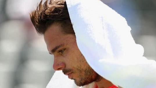 Stan Wawrinka během osmifinále v Indian Wells.