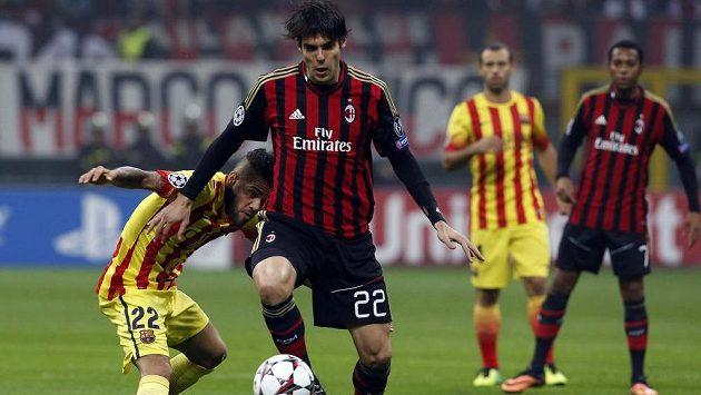 Záložník AC Milán Kaká v utkání proti Barceloně.