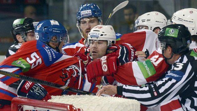 Roztržka v utkání Lva v Kontinentální hokejové lize
