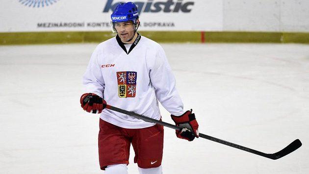 Útočník Jaromír Jágr během tréninku hokejové reprezentace.
