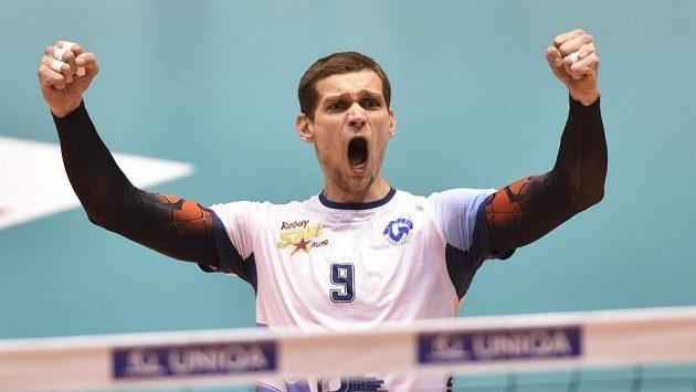 Tomáš Hýský z Kladna se raduje ve finále Českého poháru.