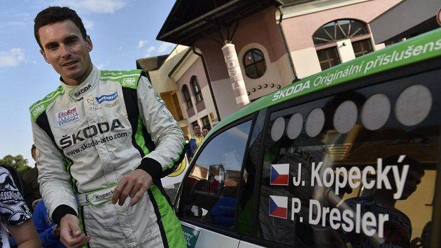 Jan Kopecký s vozem Škoda Fabia R5 v Hustopečích.