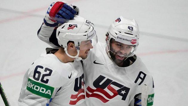 Radost hokejistů USA na mistrovství světa.