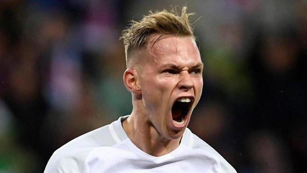Slovenský fotbalista Ondrej Duda se raduje z gólu proti Maltě. Bude slavit i postup do baráže?