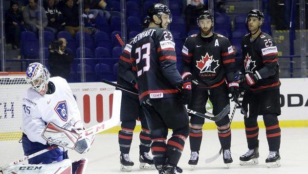 Kanadská radost po gólu proti Francii.