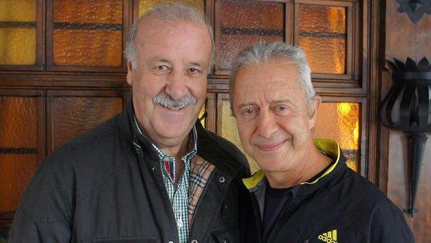 Trenér Alf Galustian (vpravo) s koučem španělské reprezentace Vicentem del Bosquem, typickým zastáncem Coerver Coachingu.