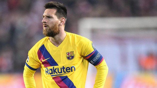 Lionel Messi z Barcelony během utkání základní skupiny Ligy mistrů se Slavií.