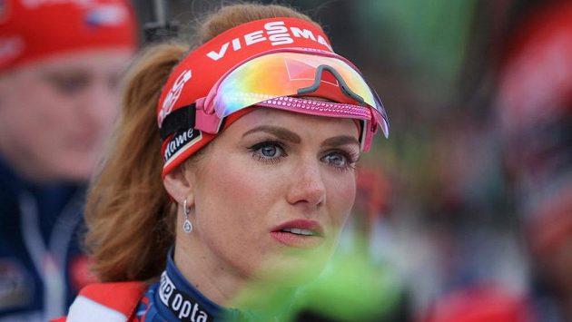 Gabriela Koukalová při biatlonové exhibici.