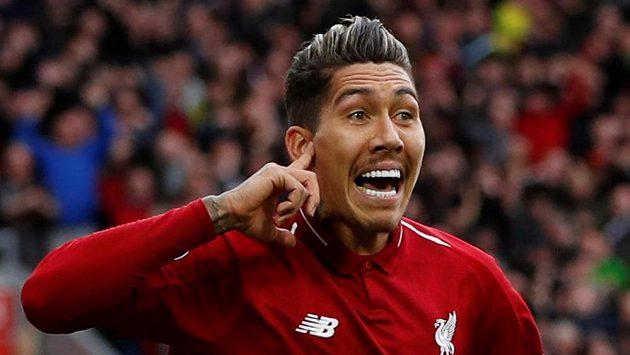 Liverpoolský Firmino se raduje z trefy proti Tottenhamu.
