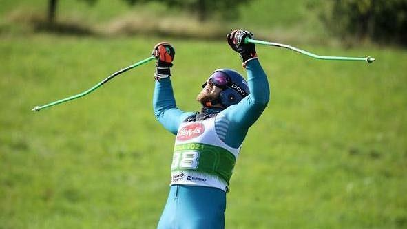 Martin Barták vyhrál na MS v travním lyžování ve Štítné nad Vláří obří slalom.