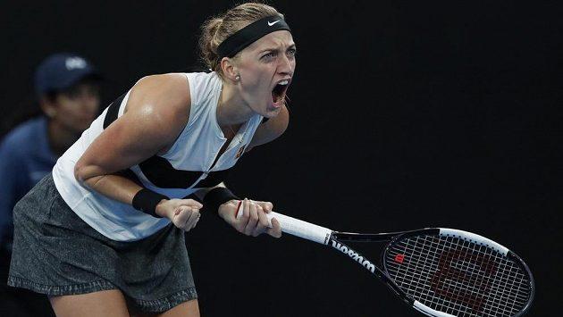 Reakce Petry Kvitové během utkání s Belindou Bencicovou.